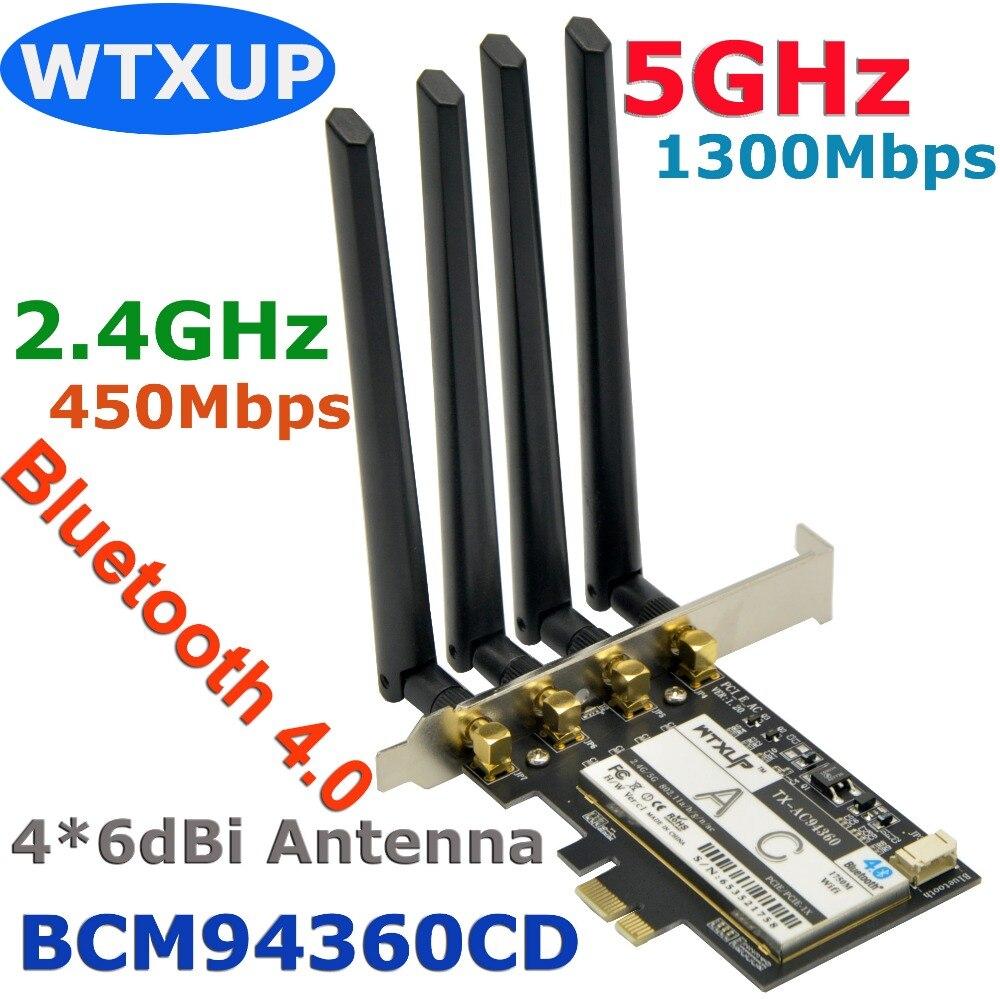 Prix pour WTXUP Broadcom BCM94360CD 1750 Mbps 802.11ac Sans Fil De Bureau PCi-E PCi Express Adaptateur WiFi + Bluetooth 4.0 avec 4 * 6dBi antenne