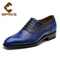 Sipriks Custom Mens Goodyear Welted Shoes Italian Mens Python Shoes Hipster Boss Blue Tuxedo Snake Skin Shoes Male Wedding Shoes