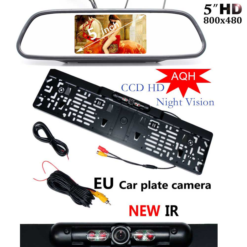 5 inch Car HD Rearview Mirror Monitor CCD Video Auto Parking LED Night Vision Number Plate EU License Frame Reverse Camera hot