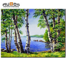 RUBOS DIY 5D diamante mazayka Birches árboles por el lago diamante pintura patrón bordado diamante rhinestone hogar Decoración hobby(China)
