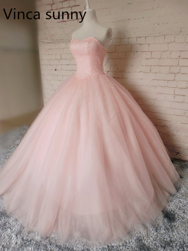 pink tulle long   prom     dresses   ball gowns 2019 new design hot sexy custom sweetheart beading evening   dress   vestido de festa