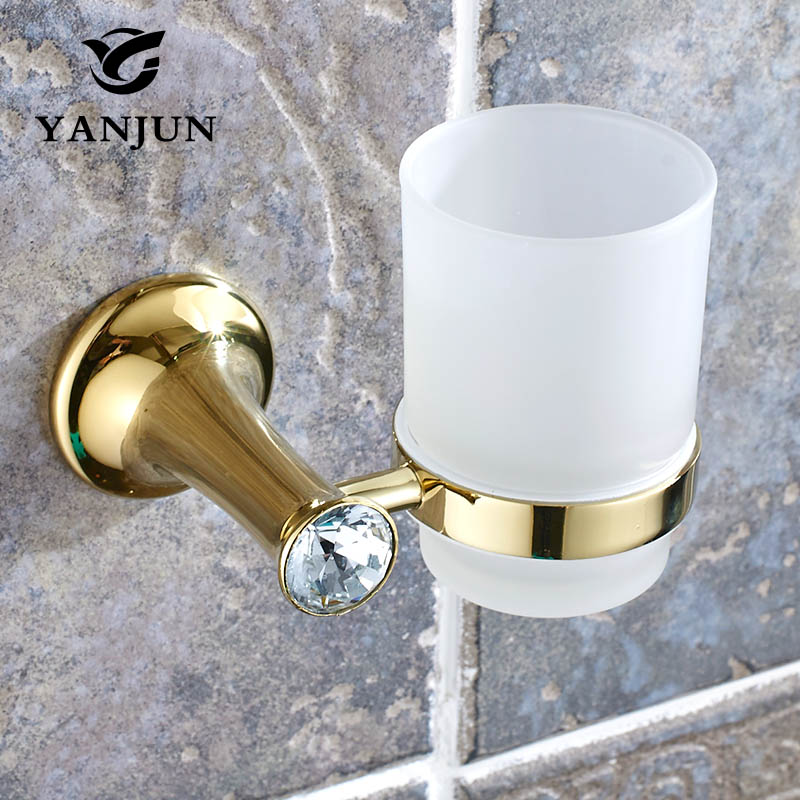 Yanjun Pastoral Crystal Single Cup Tumbler Holder Zinc Wall Mounted Toothbrush Cup Holder Bathroom Accessories YJ-8264  2014 pastoral cup