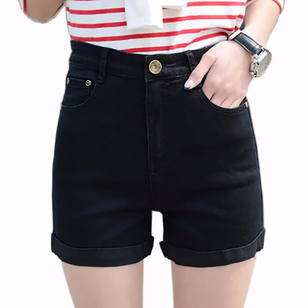 tengo 2017 summer women shorts high waist stretch denim