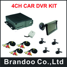 Promotion!!! 4Channel D1 CAR DVR with 4 cameras,separate microphone, 7.0inch car monitor included,free shipping