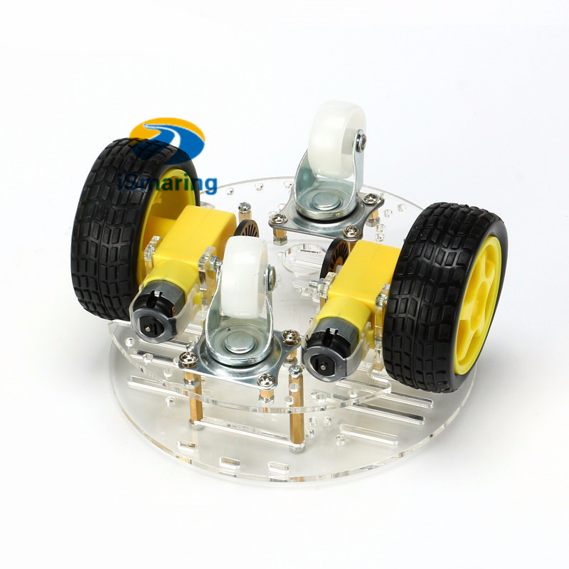 4WD Mini Round Double-Deck Smart Robot Car Chassis DIY Kit for Arduino New AT