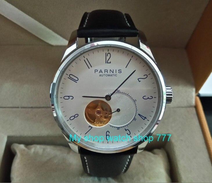 42mm PARNIS Japonais Automatique Auto-Vent mouvement mécanique cadran blanc hommes de montre Mécanique montres pa02-8