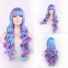 Mix Blue Pink Long Wavy Cosplay Wig Bangs Synthetic Lolita Hair Halloween Costume Party Wigs For Women High Temperature Fiber цена