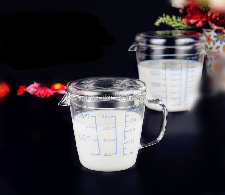 250ML500ML 5PCS Clear Glass Beaker Milk Liquid Measuring Cups With Handle Lid Cap Accurate Scale High Temperature Resistance 1000ml glass measuring cylinder