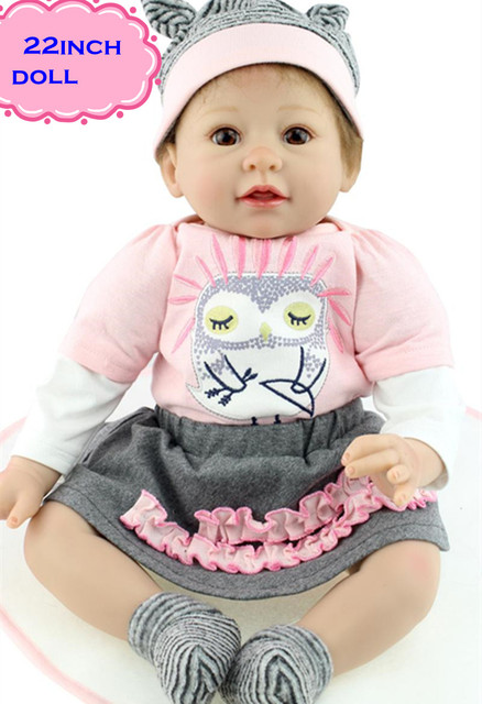 012a9e4f94c Best Playmate 22inch NPK Silicone Reborn Baby Dolls Leisurely Look Real  Doll Baby Brinquedos With Big Realistic Eyes For Girl