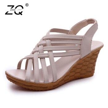 ZOQI Open Toe Summer Sandals For Women 2018 Black Platform Height With The Roman Sandals Casual Wedges Shoes For Women Sandalias римские сандали