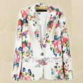 Top Flower Printed Slim Women Blazers Autumn 2013 Fashion Floral Casual Suits Plus Size S M L
