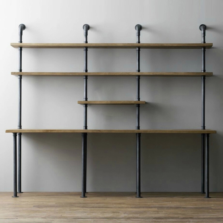 American Loft Industrial Pipe Racks Wrought Iron Wood