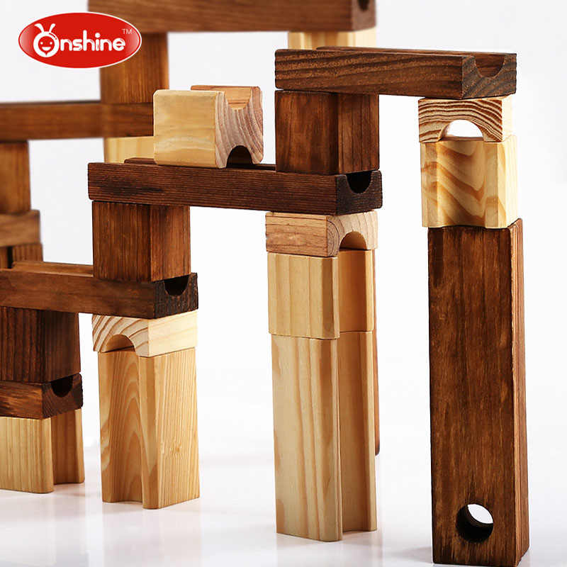 Brand Children Wooden Marble Runs Block Toy with Glass Beads Kids Building  Construction Assemble Rail Blocks Educational Toy