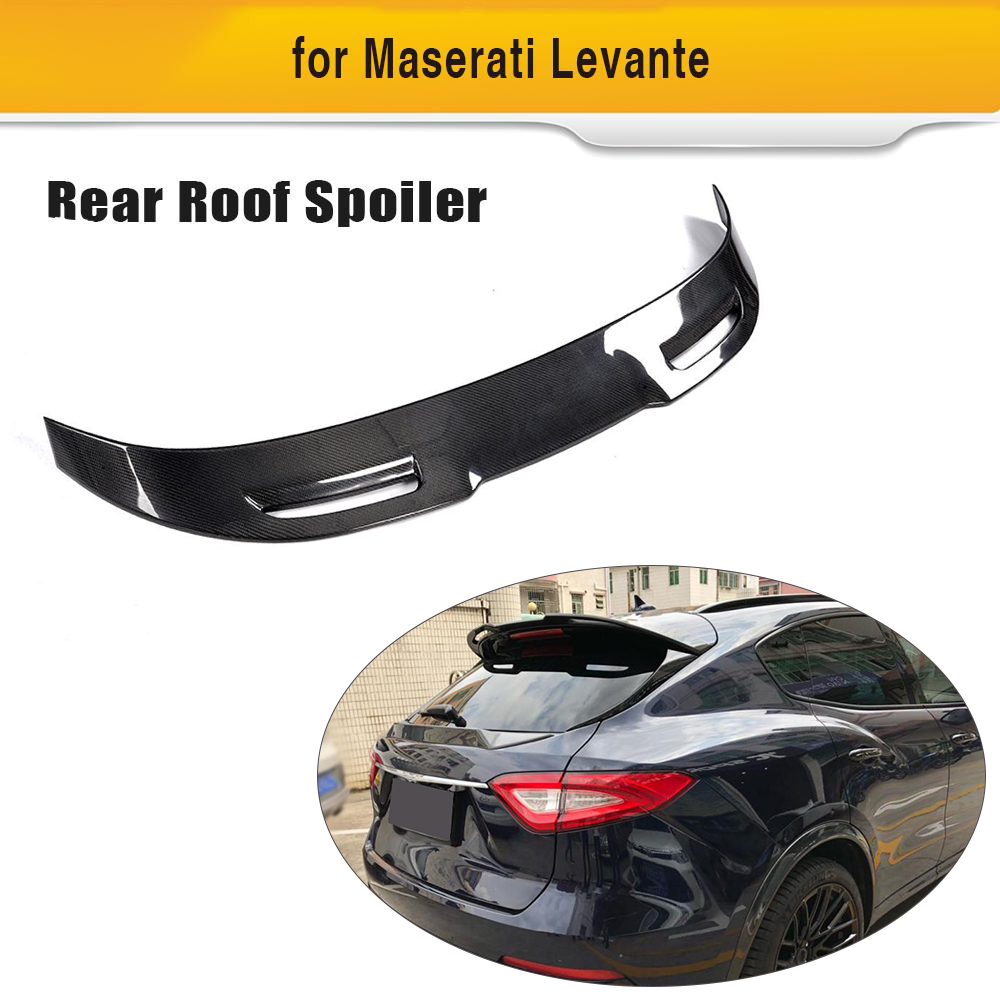 Carbon Fiber Car Rear Roof Trunk Spoiler Window Wing Lip For Maserati Levante 2016 2017 2018