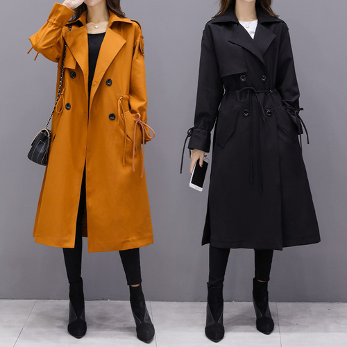 High Fashion Streetwear Women's Midi-Length   Trench   Coat solid Color yellow Winter Slim high waist Outerwear