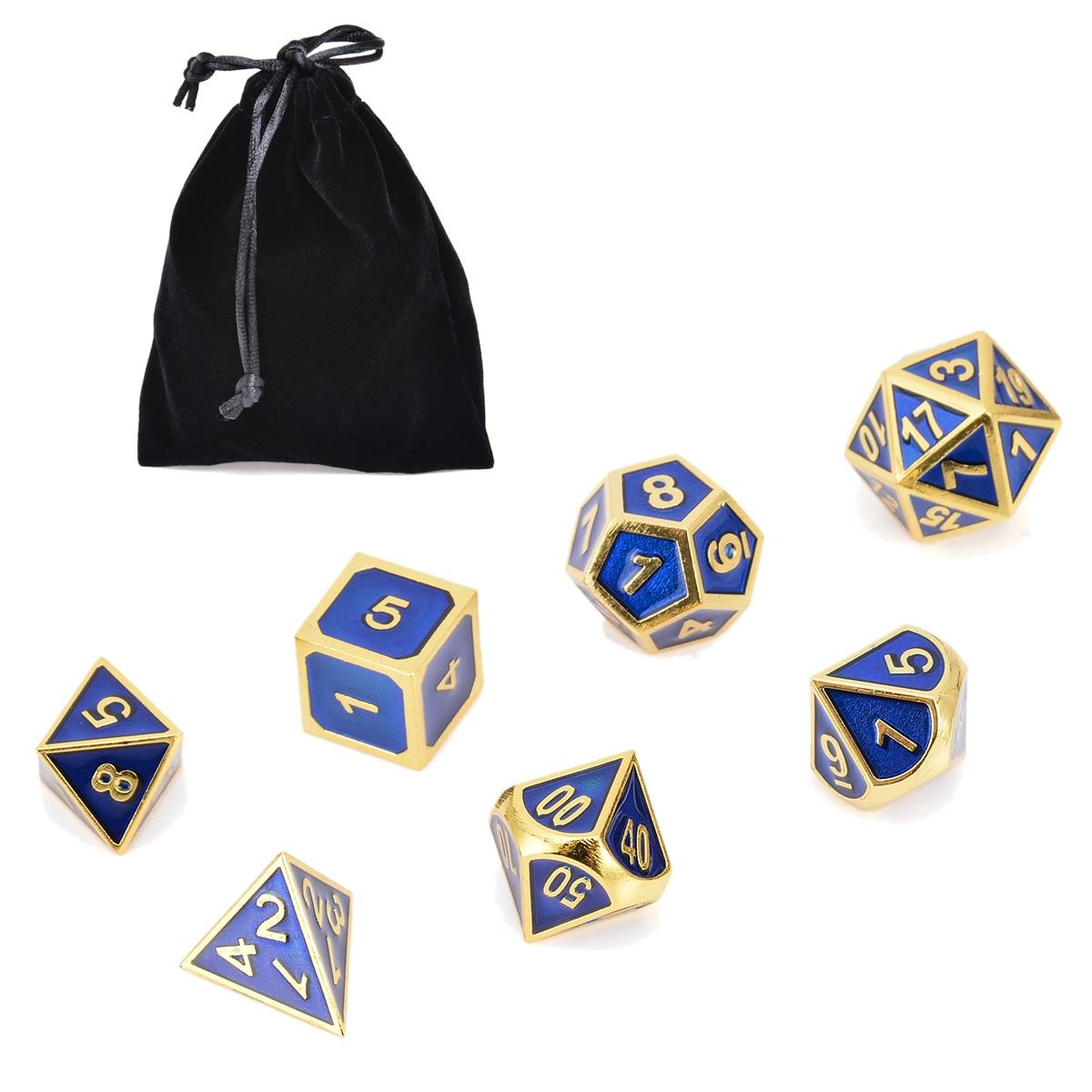 Heißer Verkauf 7x Antike Metall Polyhedral Würfel Dungeons & Dragons Rolle spielen Party Bar Spiel Mit Tasche Gold & Blau Farbe werkzeug