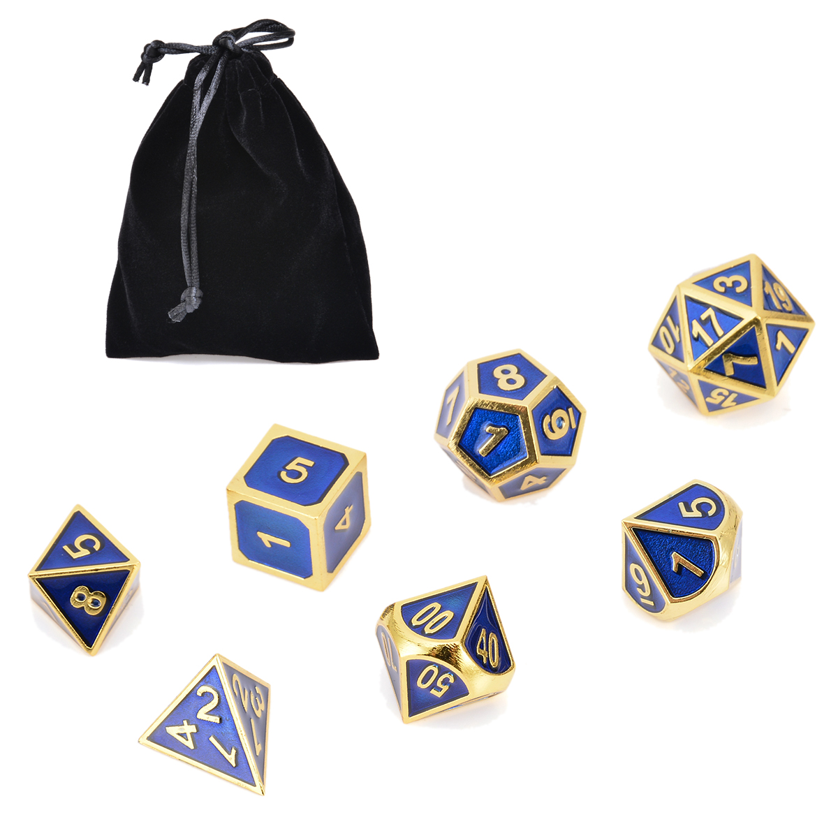 Hot Sale 7x Antique Metal Polyhedral Dice Dungeons Dragons Role Playing Party Bar Game With Bag