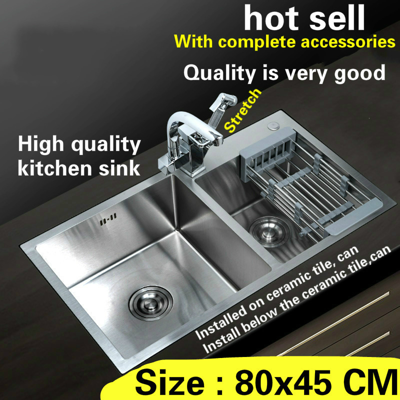 Free Shipping Hand Made Stainless Steel Household Standard Kitchen Sink Durable Double Groove Hot Sell 80x45 CM