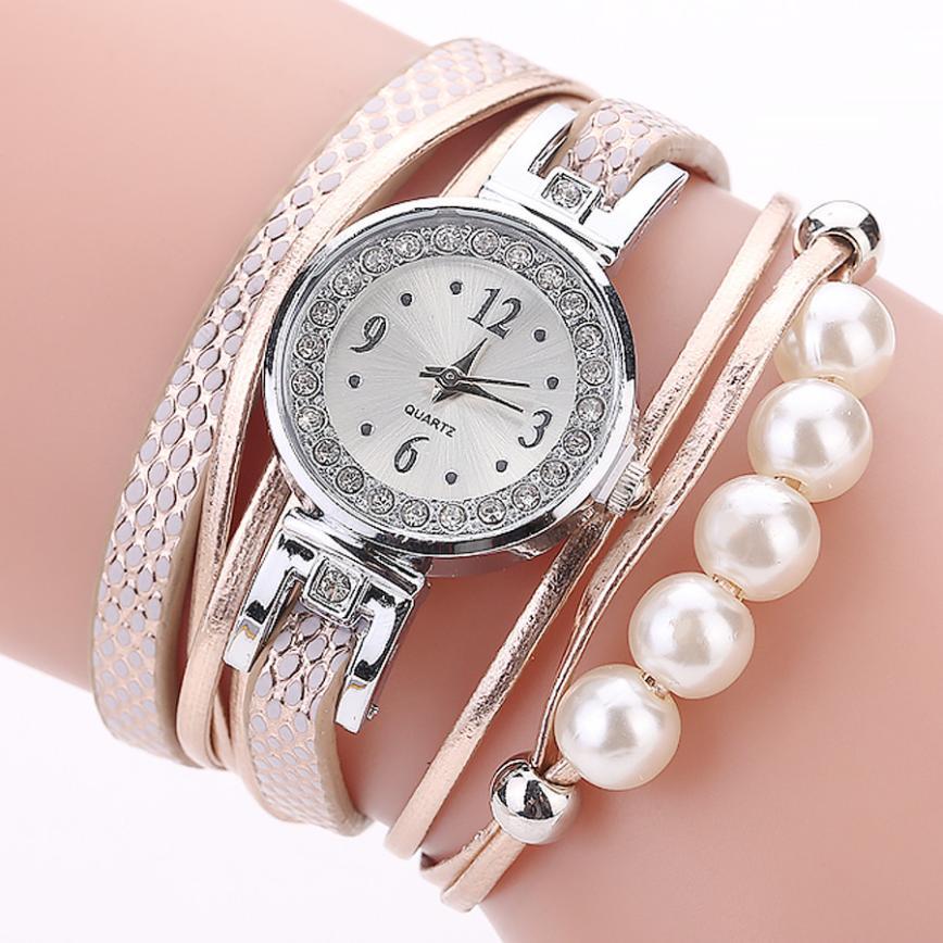 Luxury CCQ Brand Women's Rhinestone Pearl Bracelet Watches Leather Bracelet Lady Womans Wrist Watch Clock Relogios Femininos  #D