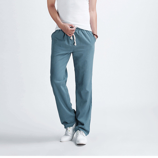 f6c86dfcec73 New Men s casual Pants supreme Male solid color linen casual trousers  Stylish and comfortable large size men straight trousers