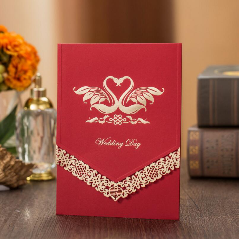 50pcs/pack Romantic Swan Pattern Red/Gold Paper with Hollow Flower Wedding Invitation Card Event & Party Decoration