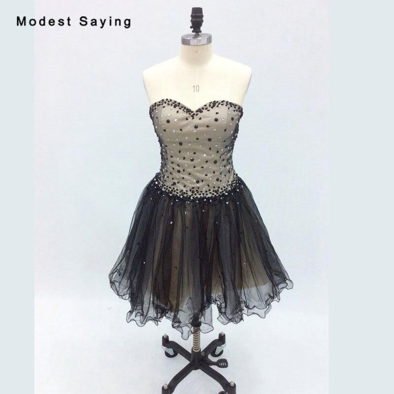 2018 nouvelles robes de Cocktail courtes Sexy Champagne et noir avec perles filles Mini robe de bal de promo robes de coctel
