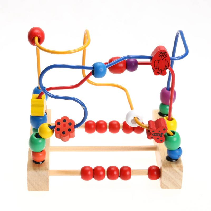 Wooden Bead Maze Math Toy Kids Early Educational Montessori Toy Baby Children Bead Rollercoaster Round Wire Maze Puzzle Toy Gift free ship 1 set of 100pc children kids natural wooden build blocks montessori sensorial early development educational material