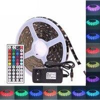Tira de LED RGB 5050 PCB negro 30 ledes/m 60 ledes/m impermeable DC 12 V tira de cinta de luz LED neon Flexible con potencia y c