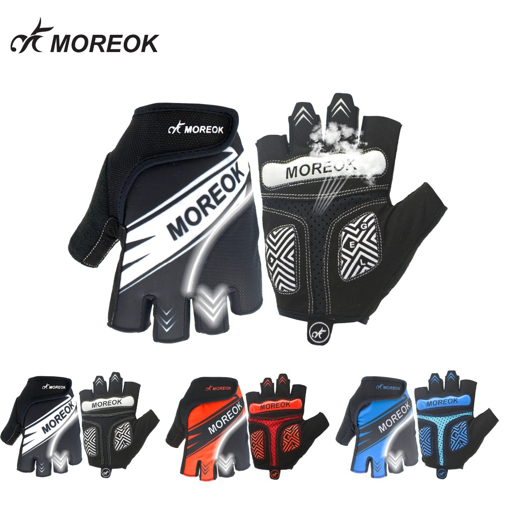 MOREOK Half Finger Anti slip Breathable Road Bike Cycling Gloves Wearable Moutain Bike Bycling Shockproof Mtb Bicycle Men Women