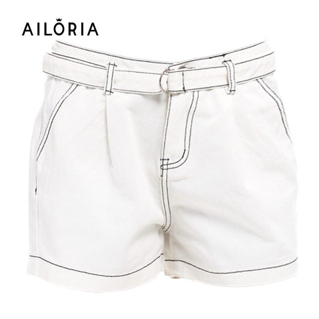 Ailoria Short Jeans Plus Size 2017 Summer Women High Waist Denim Shorts Frayed White Color Female Flash Short Pantalon Femme