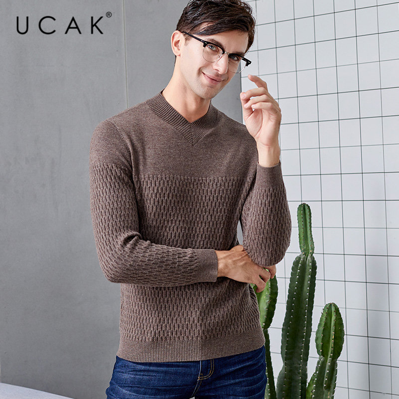 UCAK Brand Merino Wool Sweater Men 2019 New Winter Cashmere Sweaters Streetwear Fashion Big V-Neck Pull Homme Pullover Men U3024