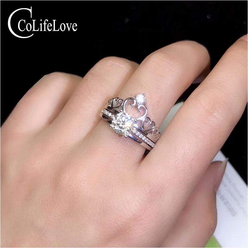 CoLife Jewelry Vintage Crown Ring with Moissanite 1ct Real Moissanite 925 Silver Ring Sterling Silver Moissanite JewelryCoLife Jewelry Vintage Crown Ring with Moissanite 1ct Real Moissanite 925 Silver Ring Sterling Silver Moissanite Jewelry
