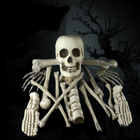 12pcs/set Halloween decoration horror skull skeleton head home decoration accessory halloween party supply
