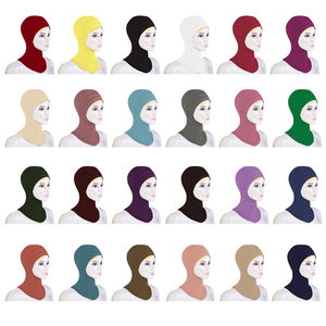 Image 1 - 12PCS New Under Hat Cap Bone Bonnet Ninja Inner Hijabs Women Muslim Islamic Wrap Headscarf Neck Full Cover Scarf Random Color