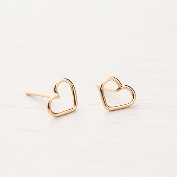 PINJEAS Tiny Heart Earrings Filled or wire wrap Small Post Studs Simple Minimalist Personalized Bridesmaid Gift
