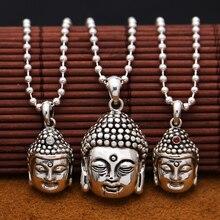 בעבודת יד 925 כסף בודהה תליון שרשרת 925 סטרלינג טיבטי בודהה ראש קמע תליון מזל טוב בודהה פסל קמע