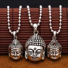Handcrafted 925 Silber Buddha Anhänger Halskette 925 sterling Tibetischen Buddha Kopf Amulett Anhänger Gute Luck Buddha Statue Amulett