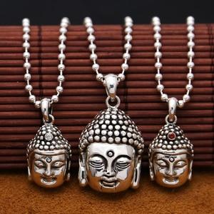 Image 1 - Handcrafted 925 Silver Buddha Pendant Necklace 925 sterling Tibetan Buddha Head Amulet Pendant Good Luck Buddha Statue Amulet