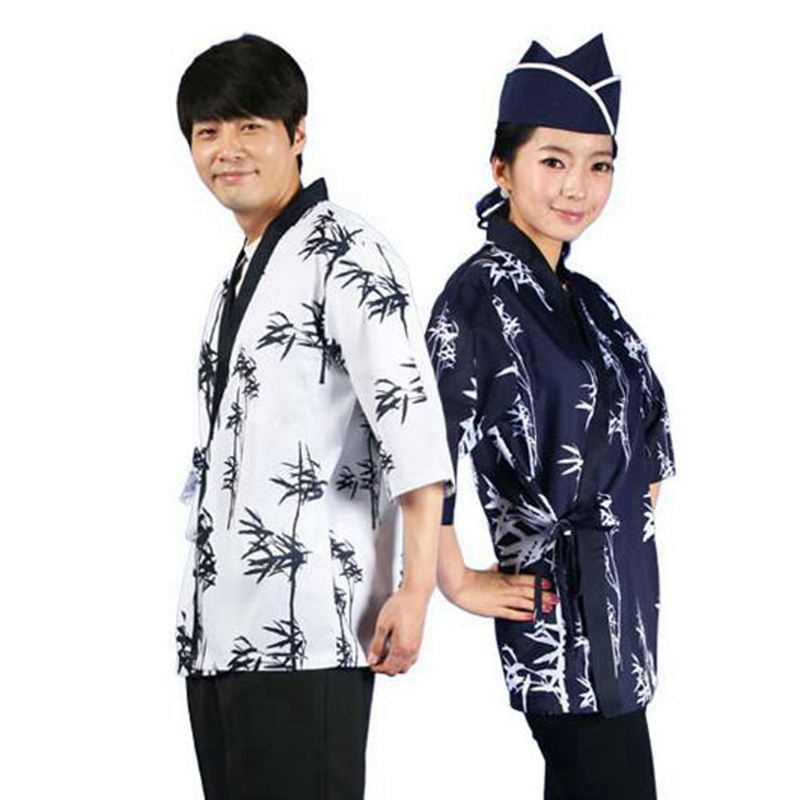 1pcs Men Women Chef Uniform Cook Jackets Wear Sushi Suits Restaurant Unisex Working Kimono Long Sleeve Waiter Blouse DAJ9291