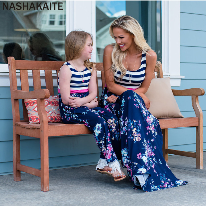 HTB1Ri4iuMHqK1RjSZFgq6y7JXXas - NASHAKAITE Mother daughter dresses Floral Printed Long Dress Mommy and me clothes Family matching clothes Mom and daughter dress