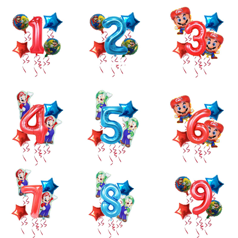 2pcs// lot Super Mario Balloons Boy Girl Birthday Party Decor Luigi Bros Mylar