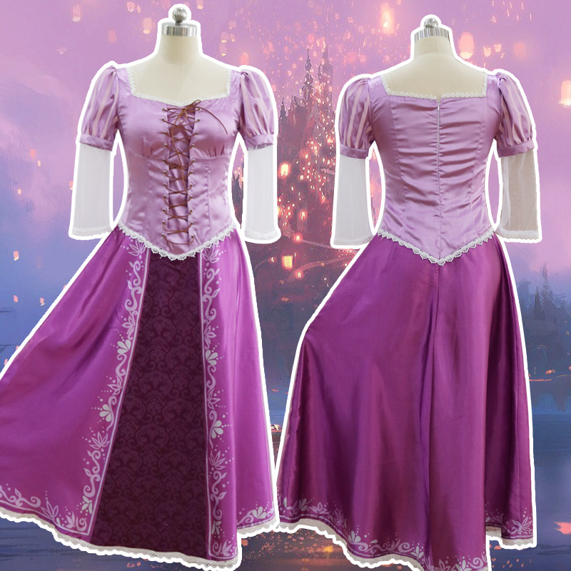 The Princess Rapunzel Fancy Dress Adult Costumes For Halloween/Carnival Party Tangled Cosplay Costumes For Women