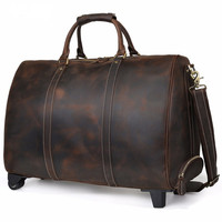 TIDING Luxury Italian Handmade Leather Travel Duffle On Wheels Men Vintage Large Capacity Rolling Luggage Tote Bags Dark Brown