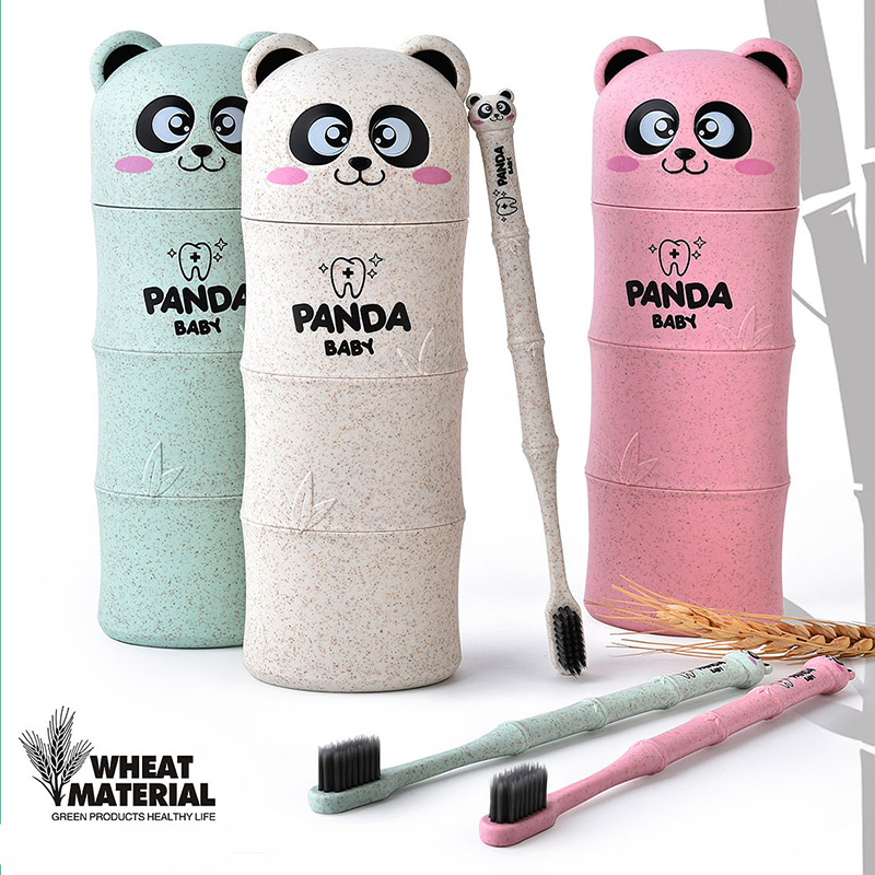 New 3pcs in One Set Cartoon Panda Toothbrush Travel Suit Random Color For Toothbrush Wheat Straw Safety Nano-antibacterial Kit image