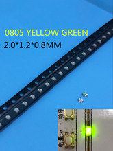 1000 pçs frete grátis ultra brilhante 0805 smd led verde novo lighte 560-575nm 70-200mcd i (ma):20ma