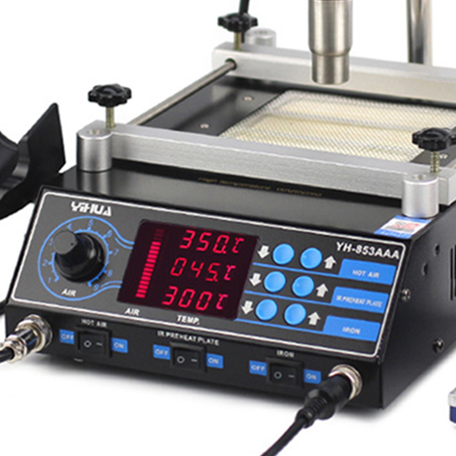 YIHUA 853AAA 3 in1 Bga Rework Soldering Station 650W SMD Hot Air Gun  60W Soldering Irons  500W Preheating Station Welding tools
