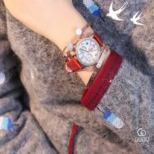 GUOU Women Watch the development of vogue model of the three ornamental diamond temperament strip hour Wrist watches montre femme