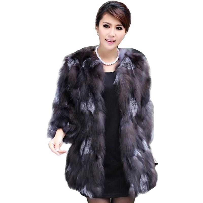 Luxe dame véritable réel manteau de fourrure de renard veste 3/4 manches hiver femmes fourrure manteaux pour vêtements de dessus Trench pardessus vêtements VK3028