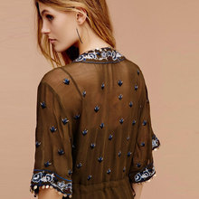 Embroidery Plunging Neckline Sheer Asymmetry Tassels Loose Half Sleeve Flowing Maxi Dress