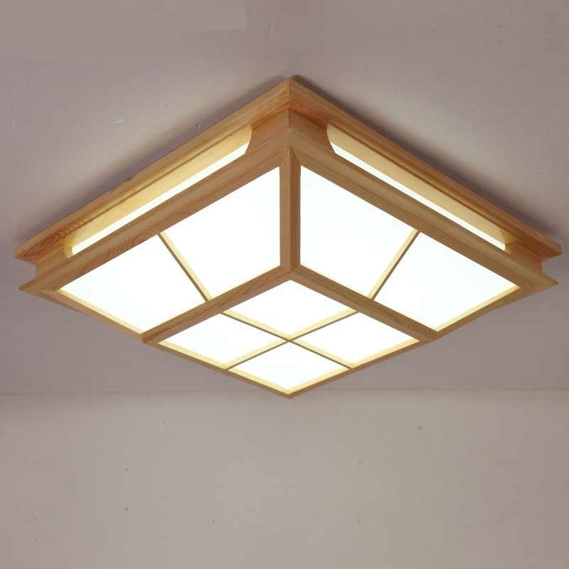 Wooden elegant wood Japanese tatami room ceiling lamps of new Chinese Garden Restaurant log LED ceiling lamps ZA MZ41